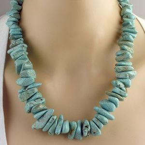 Chunky Turquoise Necklace & Earring Set